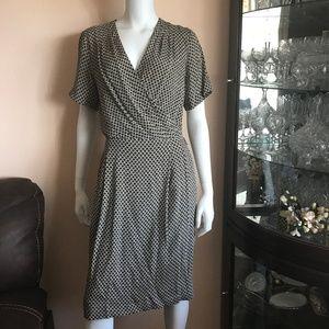 Dana Buchman Tan Black Print Faux Wrap Silk Dress